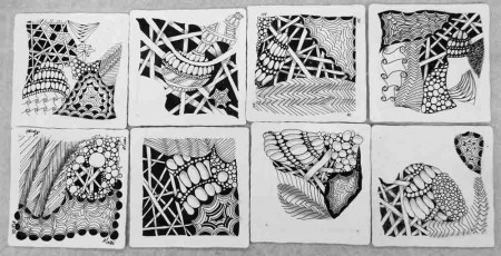 Zentangle tile drawings