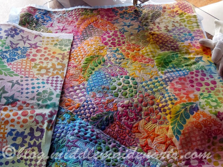 stamped and stitched fabric