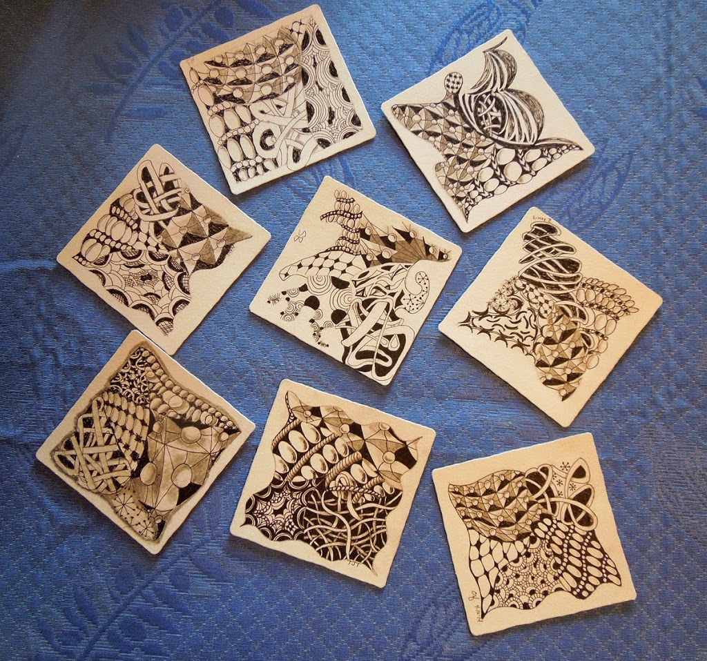image of student zentangle tiles