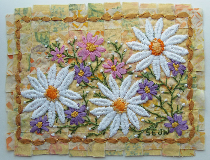 Three Daises Card, embroidered