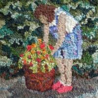 Garden Girl - rug hooking