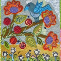 Wool Applique bird quilt