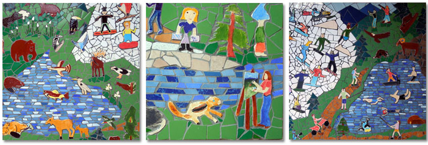 collage of 3 images showing tile mural closeup.