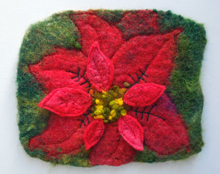 felted poinsettia piece
