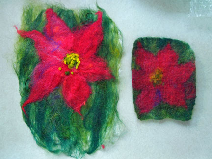 comparison of lightly and heavily felted poinsettia pieces