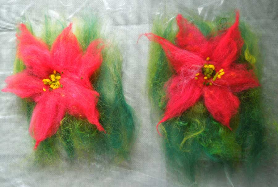 wool fibers laid out for felting poinsettias
