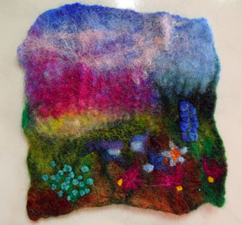 felted piece with many flowers