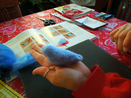 Sheila's needle felted bird in progress