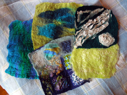 Felting Surface Design class samples