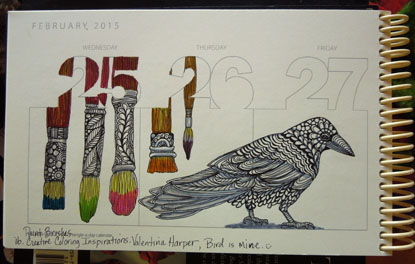 One page from Zentangle-a-day calendar