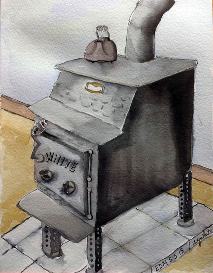 sketch of wood stove