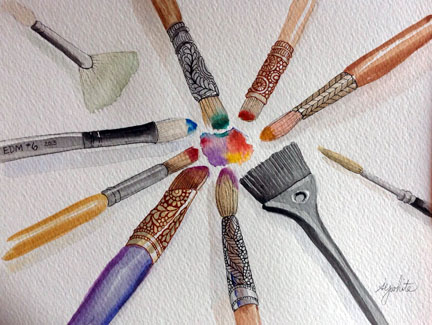 sketch of paint brushes