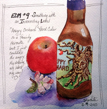 sketch of apple and hard cider bottle