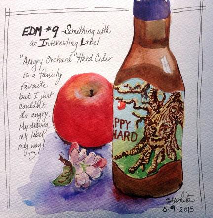 sketch of apple and hard cider bottle