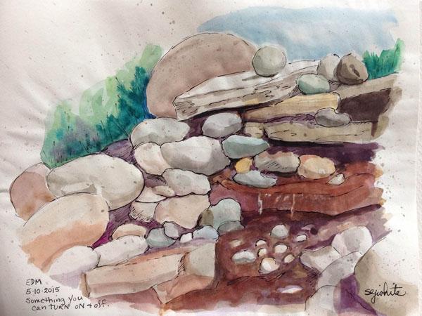 watercolor sketch of rocks