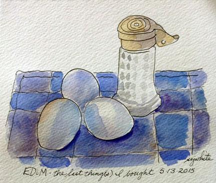 sketch of eggs and salt shaker