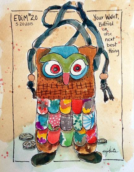 sketch of a small handbag