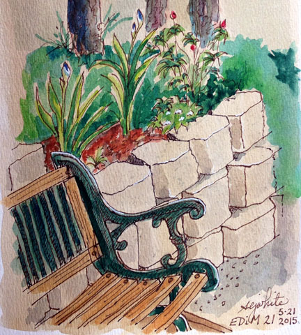 sketch of bench seat on porch