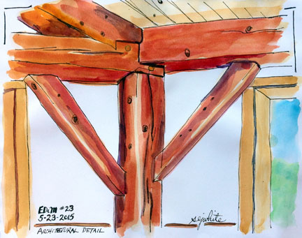 sketch of timber frame in kitchen