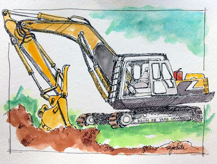 sketch of excavator