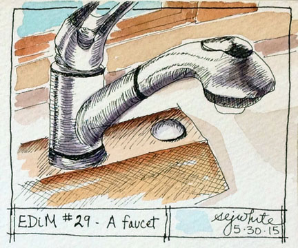 sketch of kitchen faucet