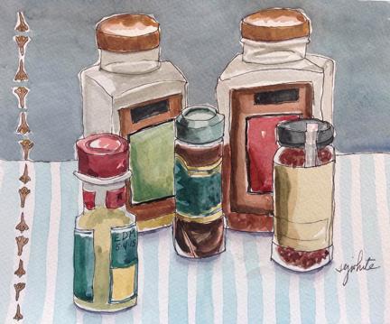 sketch of spice jars